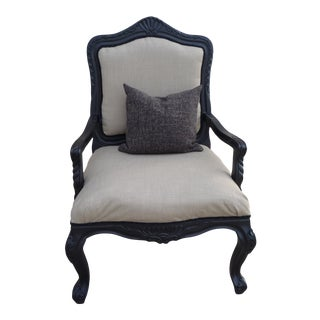 1960s Carved Black Armchair For Sale