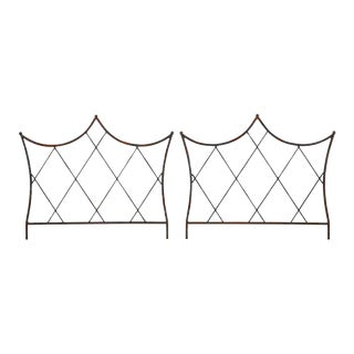 Pair of Regency Style Iron and Bronze Headboards For Sale