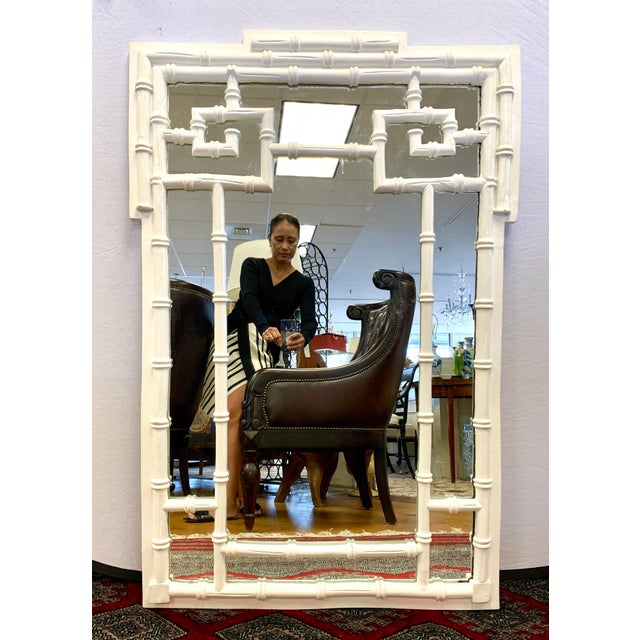 1970s Mid Century Chippendale White Laquer Faux Bamboo Mirror For Sale - Image 5 of 5