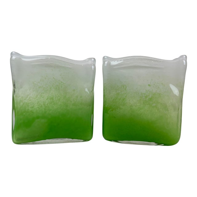 Henry Dean Rectangular Glass Vases - a Pair For Sale