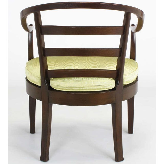 Pair Bert England For Baker Mahogany Barrel Back Arm Chairs - Image 5 of 10