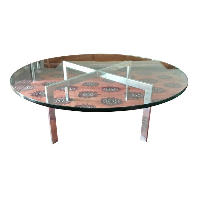 Knoll Style Chrome Glass Top Coffee Table Chairish - Chrome base glass top coffee table