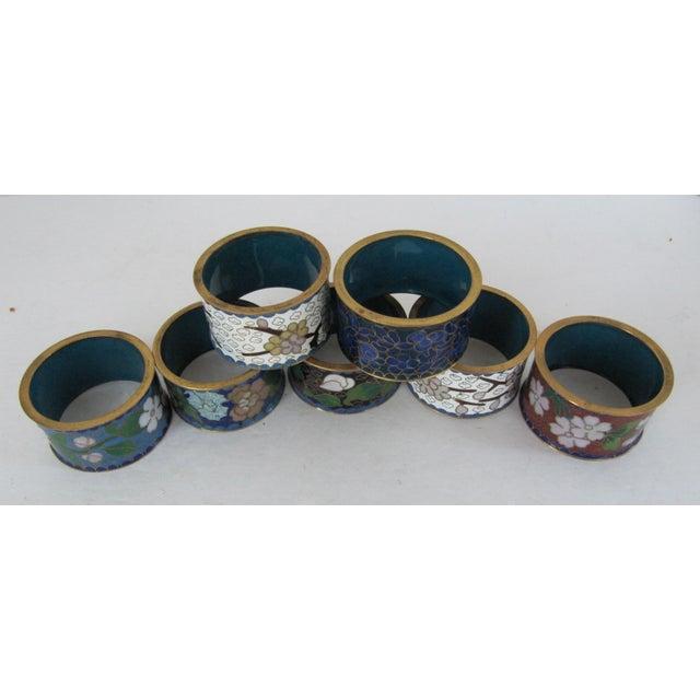 Asian Cloisonné Napkin Rings-7 Pieces For Sale - Image 3 of 4