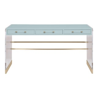 Casa Cosima Arden Desk with Taper Leg Base, Palladian Blue For Sale