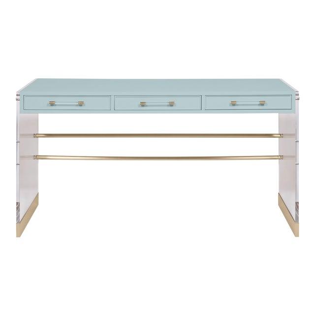 Casa Cosima Arden Desk with Taper Leg Base, Palladian Blue For Sale