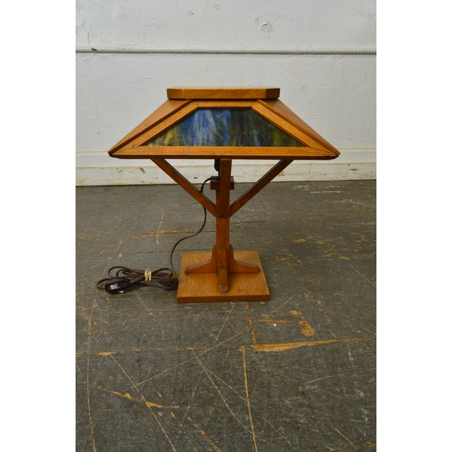732c14713ce22 Glass Arts   Crafts Antique Mission Style Slag Glass Table Lamp For Sale -  Image 7