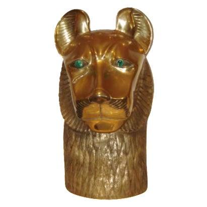 Rudolf Collection Lion Bronze Head For Sale