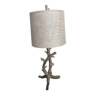 Silver Branch Metal Table Lamp With Branch Finial and Silvertone Shade