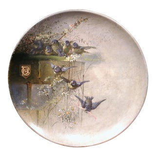 19th Century, French Hand-Painted Wall Hanging Platter With Birds Dated 1891