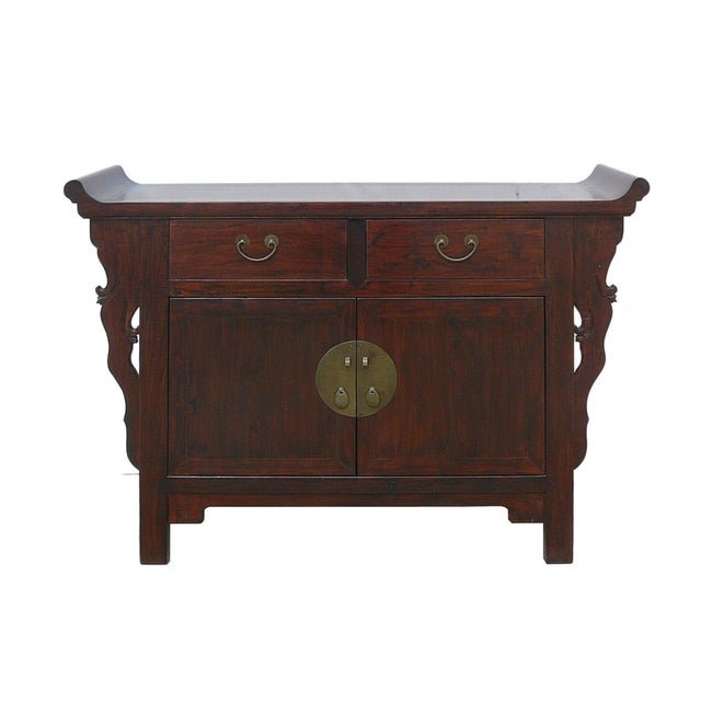 Asian Chinese Brown Cabinet Side Altar Table - Image 1 of 5
