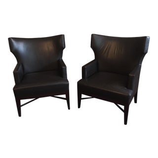 A Rubin Dark Brown Leather Wingback Chairs - a Pair