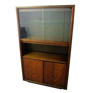 Mid Century Danish Walnut Gl Bookshelf Cabinet