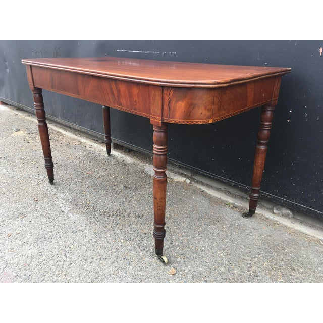 Boxwood Antique English Walnut Writing Desk on Brass Casters For Sale - Image 7 of 11
