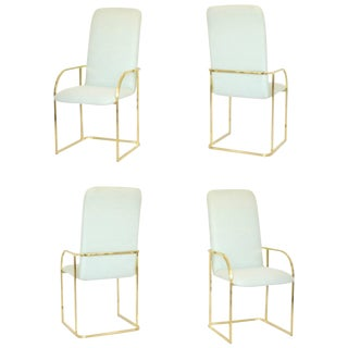 Set of Four Postmodern Dia Brass Framed Armchairs/Games Chairs For Sale