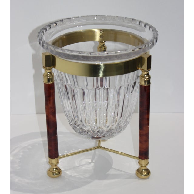 Champagne Bucket Crystal on Faux Marble & Brass Stand 1980s by Design Guild from a Palm Beach estate