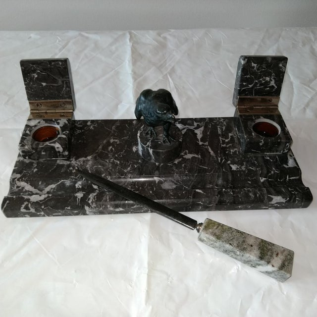 Antique black marble inkwell set with matching letter opener. Complete with original glass ink holder.