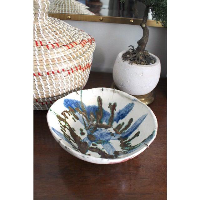 Folk Art Vintage Handmade Hand Glazed Studio Art Black Clay Pottery Bowl For Sale - Image 3 of 8