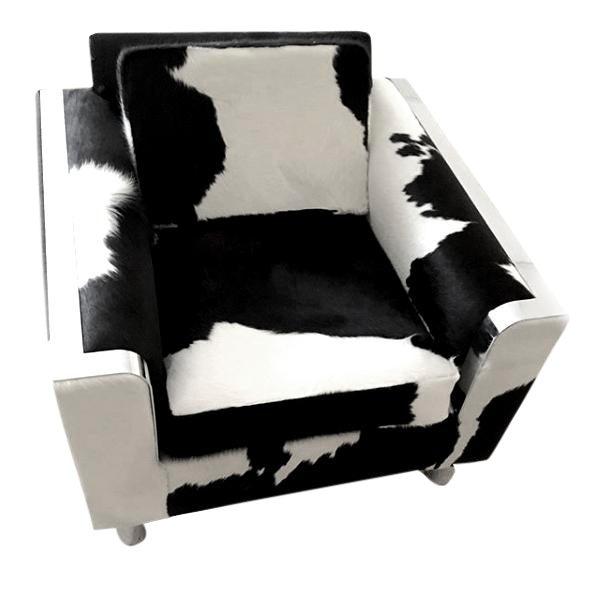 Vintage Black & White Brazilian Cowhide Chair For Sale