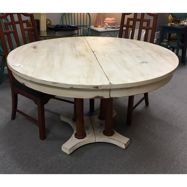 "Round or oval eclectic farm table. Good with casual or dressed up with wood furniture. Solid & sturdy. 18"" leaf."