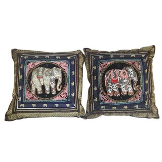 1980s Thai Kalaga Elephant Embellished Pillows - A Pair For Sale