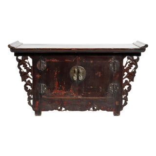 Low Chinese Butterfly Chest With Original Patina For Sale