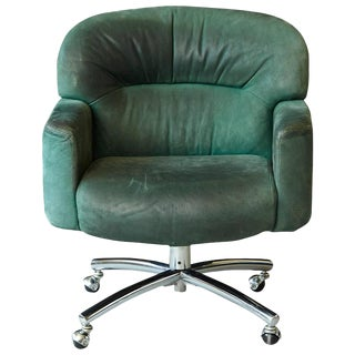Green Suede Leather Swiveling Office Chair on Casters by Harter, 1970s For Sale