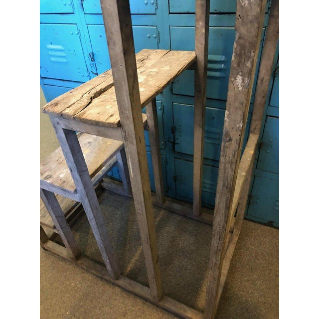 Brown Ladder From France With Pegged Nails, Primitive Wood With Paint Remnants For Sale - Image 8 of 13