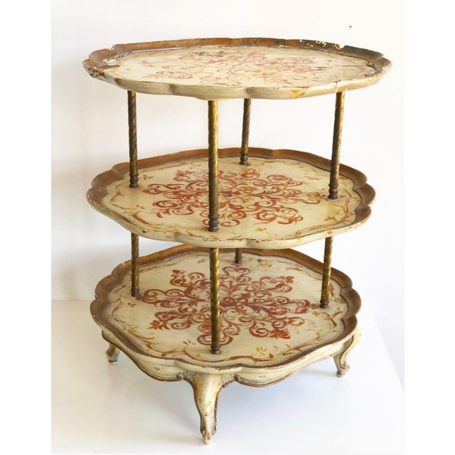Vintage Italian Florentine Style 3 Tier Side Scalloped Table For Sale In Atlanta - Image 6 of 6