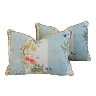 "Italian Scalamandre Silk Lampas Feather/Down Pillows 26"" X 18"" - Pair"