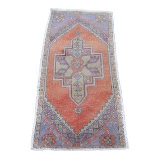 """Turkish Purple Wool Pile Small Vintage Rug - 1'7"""" x 3'4"""""""