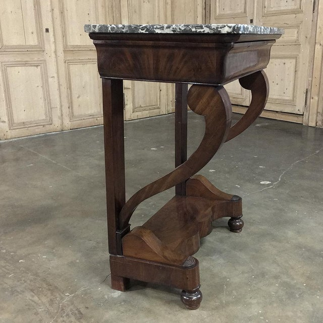 Louis Philippe 19th Century French Louis Philippe Mahogany Marble-Top Console For Sale - Image 4 of 11