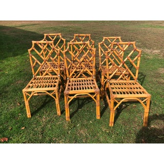 Vintage Rattan Chinese Chippendale Dining Chairs- Set 6 Preview