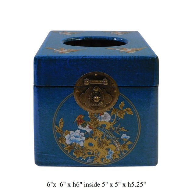 Chinese Blue Container or Tissue Box - Image 5 of 5