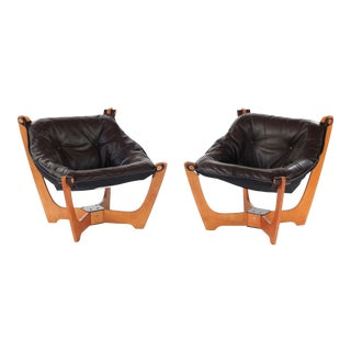 1990s Vintage Norwegian Designer Odd Knutsen Scandinavian Modern Luna Chairs- A Pair For Sale