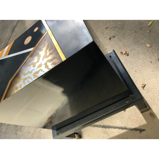 Vintage Hand-Painted Black and Gold Cabinet For Sale In Jacksonville, FL - Image 6 of 9