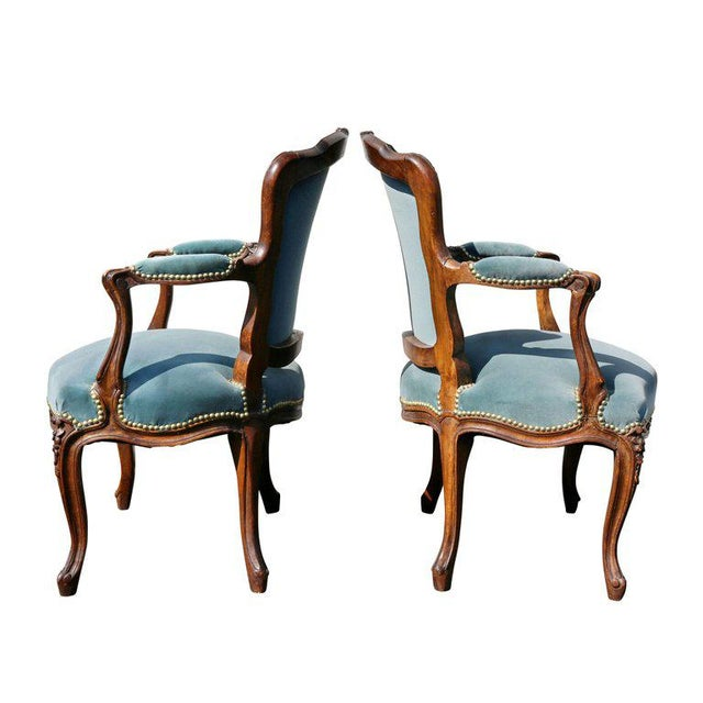 Blue Pair of Louis XV Style Walnut Fauteuil For Sale - Image 8 of 11