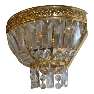 Vintage Italian Empire Montgolfier Crystal & Brass Sconce For Sale