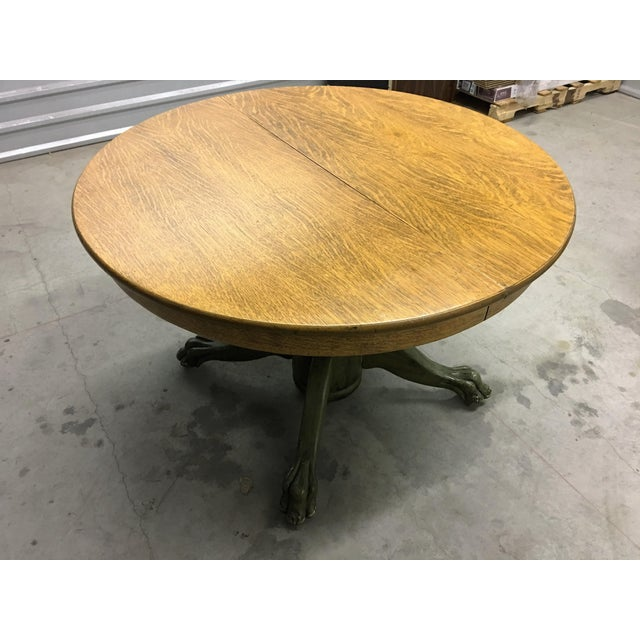 Solid oak claw foot dining table chairish for 0co om cca 9 source table