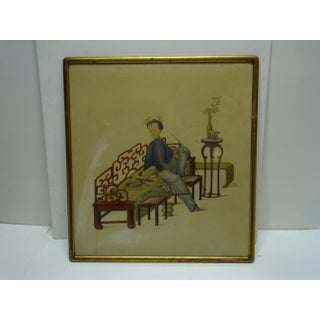 """Vintage """"Relaxing"""" Framed Chinese Print Preview"""