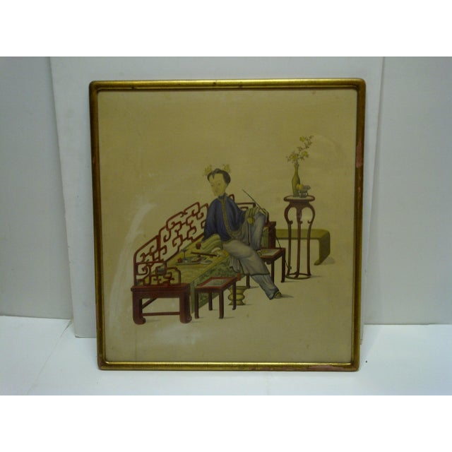 "This is a Vintage -- Framed Chinese Print -- Titled ""Relaxing"" -- The Artist Is Unknown."