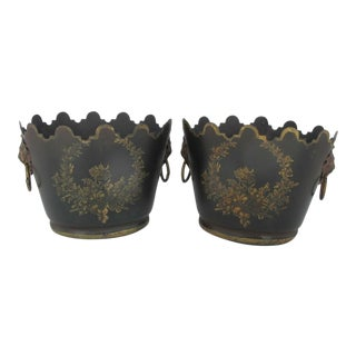 Hand Painted Brown & Gold Floral Toleware Lion Handle Metal Bucket Set of 2 For Sale