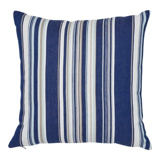 "Contemporary Schumacher Ponderosa Stripe Blue Indoor/Outdoor Two-Sided Pillow - 18ʺW × 18""H"