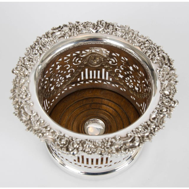 Silver plate high wine coaster, circa 1900.