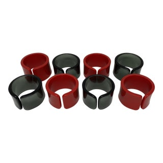 Vintage Red and Grey Lucite Napkin Rings-- Set of 8 For Sale