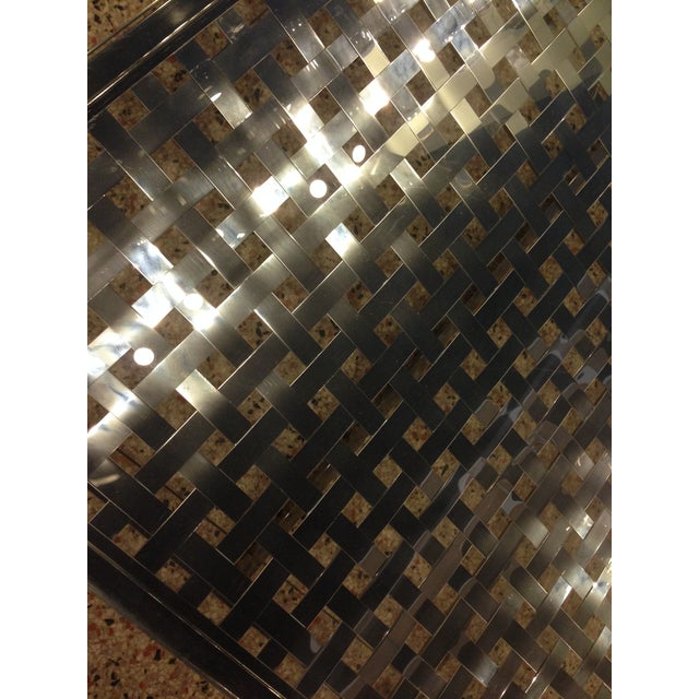 Modern Stainless Steel Lattice Top Coffee Table - Image 3 of 5