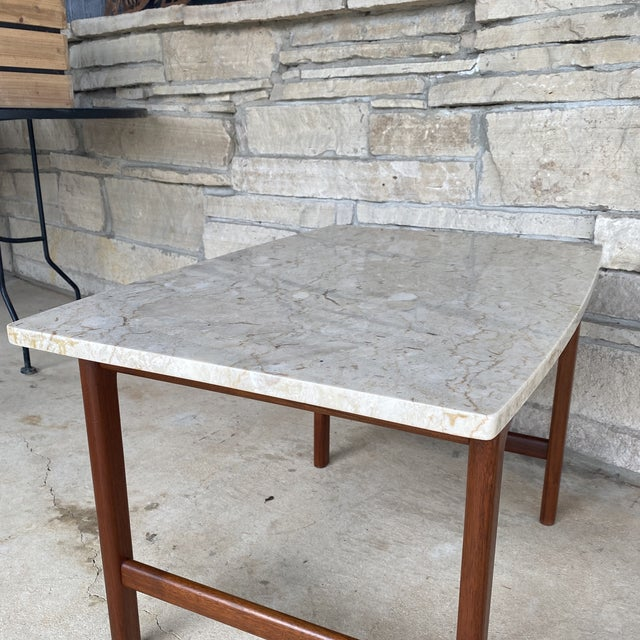 1950s 1950s Danish Modern Dux Folke Ohlsson Travertine Top Tables - a Pair For Sale - Image 5 of 12