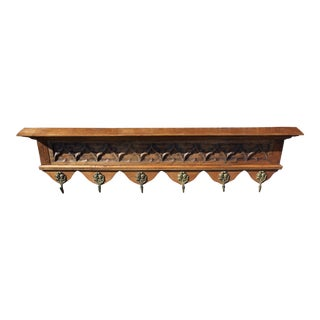 1900 Antique French Gothic, Carved Oak Coat / Hat Rack For Sale