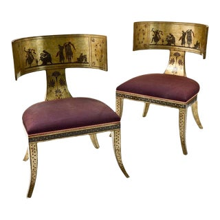 Mid-Century Neoclassical Klismos Chairs by Rose Tarlow for Melrose House- A Pair For Sale