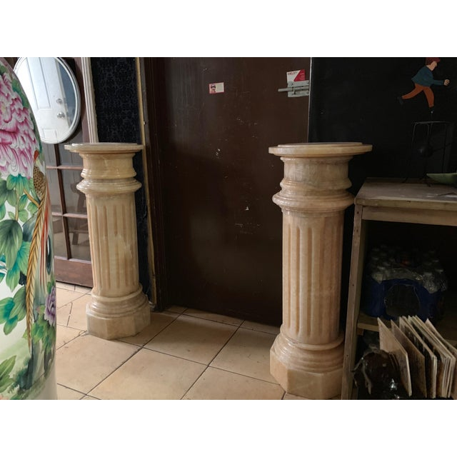 1920s Tuscany Pink Marble Pedestals - a Pair For Sale - Image 12 of 13