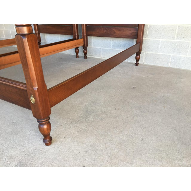Mid 20th Century Henkel Harris Solid Cherry Chippendale Style Poster Beds - a Pair For Sale - Image 5 of 9
